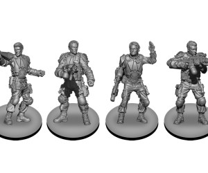 Renders of the hero team miniatures from Terminator Genisys: Rise of the Resistance by River Horse
