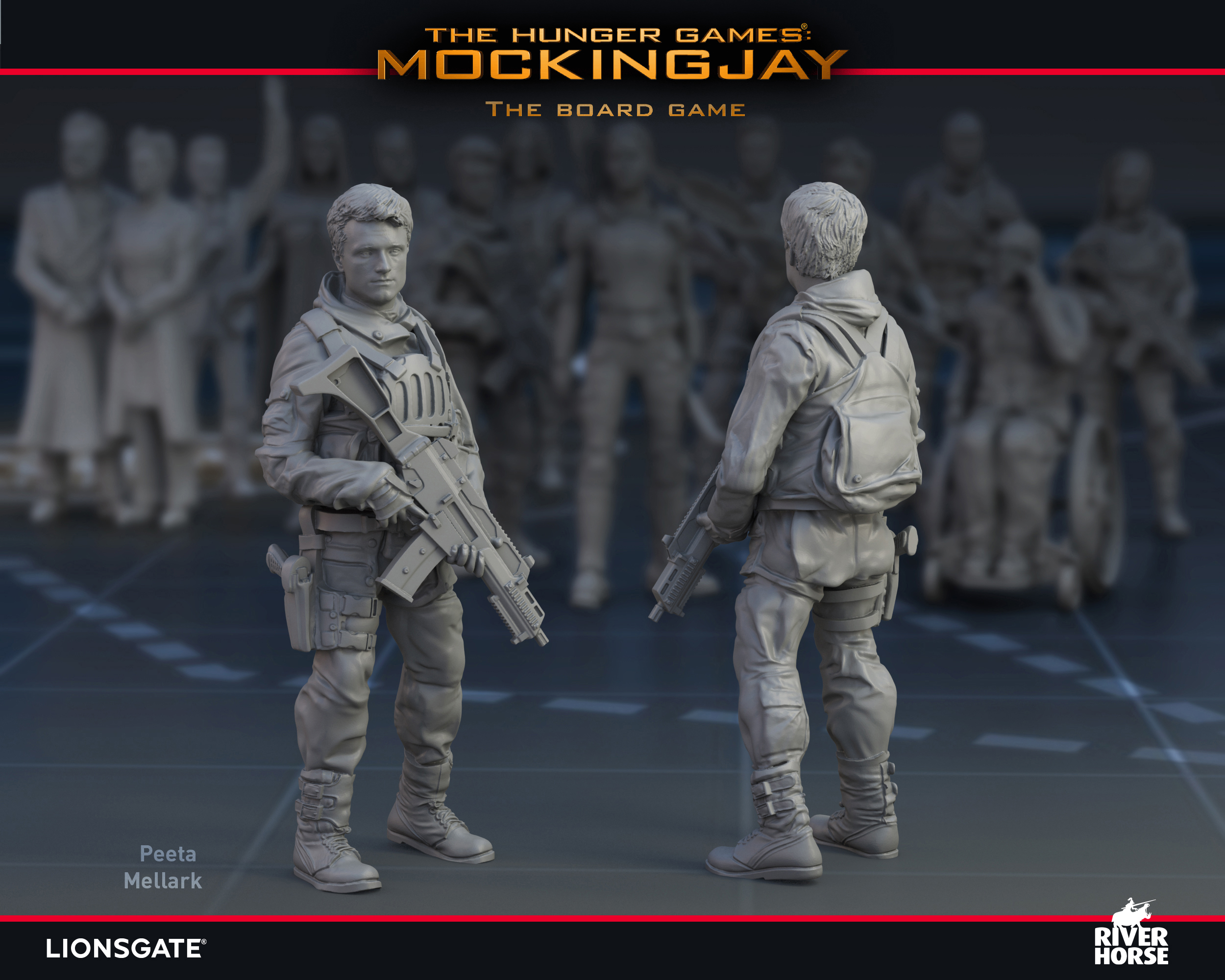 Render of Peeta Mellark for The Hunger Games: Mockingjay - The Board Game by River Horse