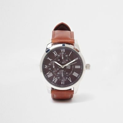 Brown Leather Strap Face Watch - Watches Men