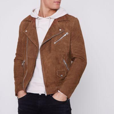 Brown Suede Biker Jacket - Jackets Coats & Men