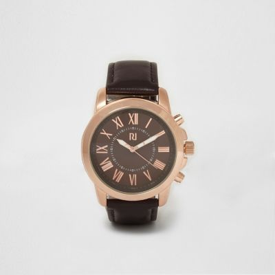 Dark Brown And Rose Gold Face Watch - Watches Men