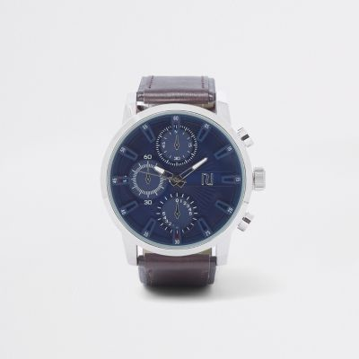 Brown Large Blue Face Watch - Watches Men
