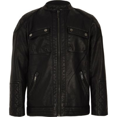Boys Black Faux Leather Jacket