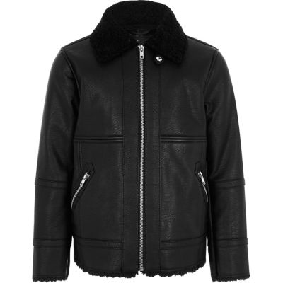 Boys Faux Leather Aviator Jacket - Coats & Jackets