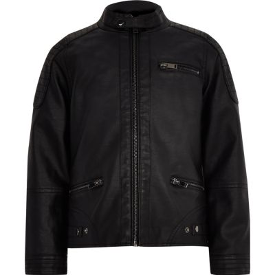 Boys Black Faux Leather Biker Jacket - Jackets Coats &