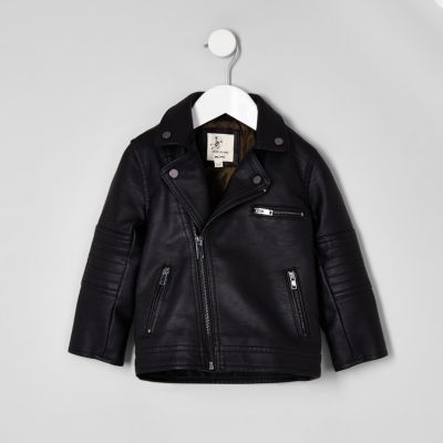 Mini Boys Black Faux Leather Biker Jacket - Baby Coats & Jackets