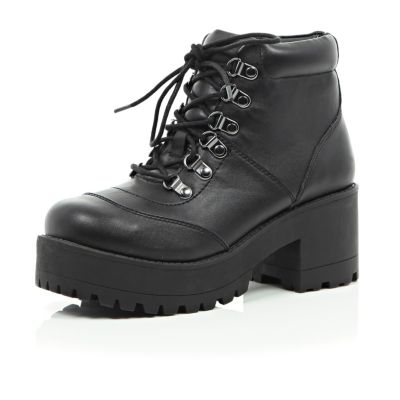 Black lace up chunky boots