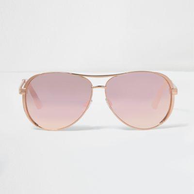 Rose gold tone mirror lens aviator sunglasses