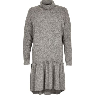 Grey Turtleneck Smock Dress - Dresses Women