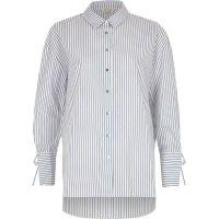 Navy stripe tie cuff oversized shirt - Workwear - Sale - women