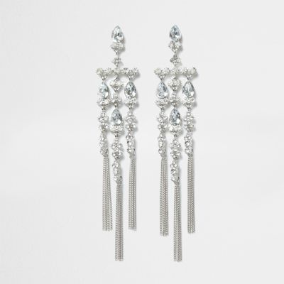 Silver tone diamante dangle drop earrings