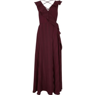 Maxi Wrap Dress Burgundy