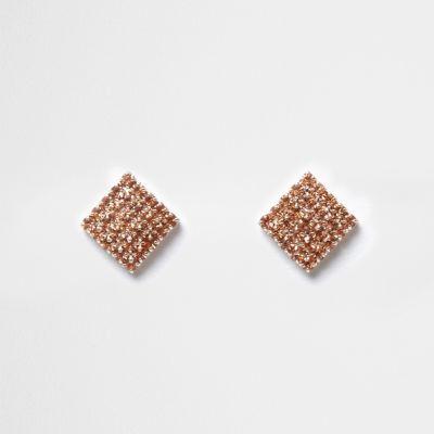 Rose gold tone diamante square stud earrings