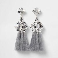 Silver tone jewel tassel drop earrings - Earrings ...