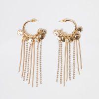 Gold tone hoop drop earrings - Earrings - Jewellery - women