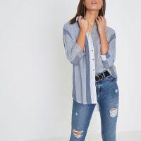 Navy stripe tie back shirt - Shirts - Tops - women