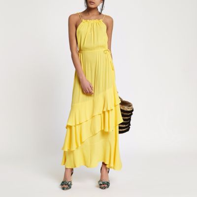 Yellow High Neck Tassel Maxi Dress - Dresses