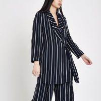 Navy stripe tie front blazer - Coats & Jackets - Sale - women