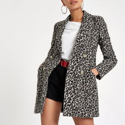 Brown Leopard Print Double-breasted Jacket - Jackets