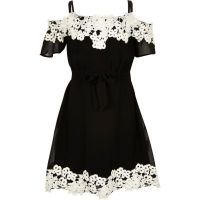 Girls black lace bardot dress - party dresses - dresses ...