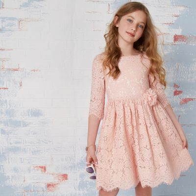 Girls pink lace corsage flower girl dress