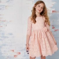 Girls pink lace corsage flower girl dress - Party Dresses ...