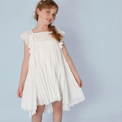 Girls cream pleated lace trapeze dress