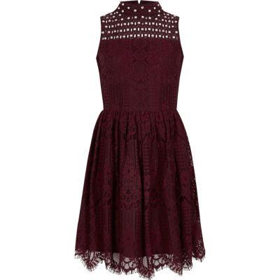 Girls burgundy lace high neck prom dress  Dresses  Sale