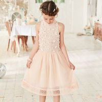 Girls pink embellished mesh flower girl dress - Party ...