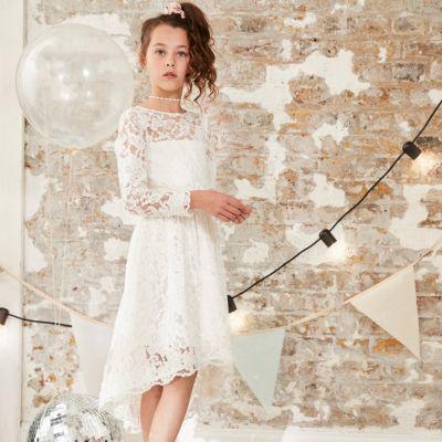 Girls White Lace Flower Girl Dress - Party Dresses