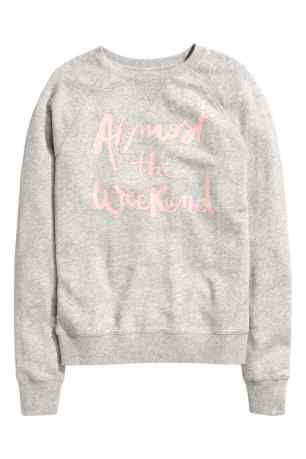Sweat ALMOST WEEKEND soldé / http://www2.hm.com/fr_fr/productpage.0466688004.html#Gris%20clair%20chiné