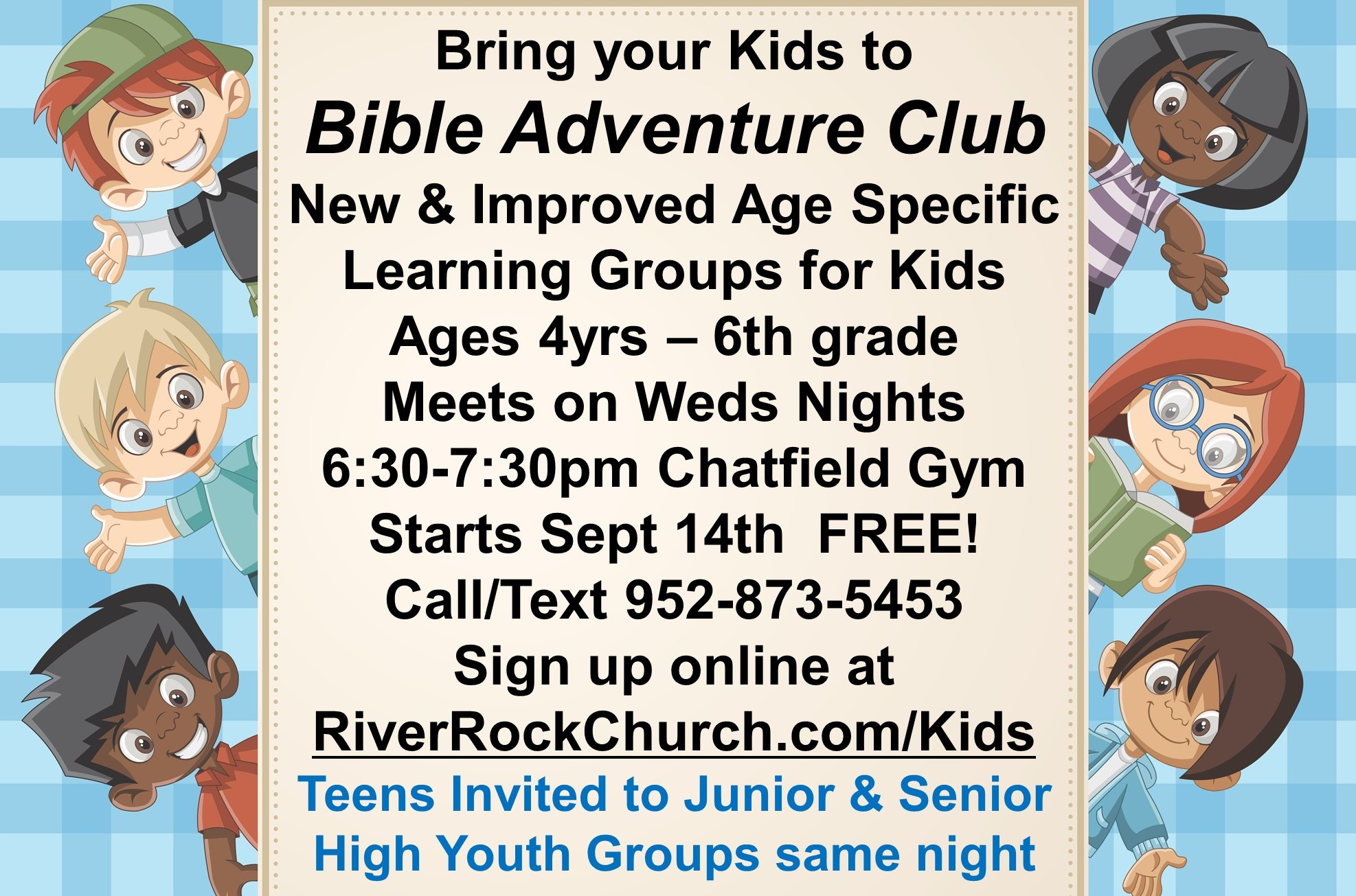 Kids Bible Adventure Club starts Sept 14th