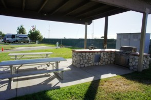 Outdoor BBQ and meeting tables