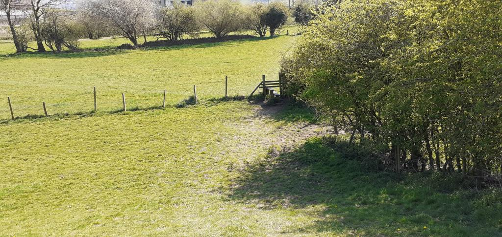 Riverside Walk - Stile in the bottom right corner of field seen from the top of the embankment