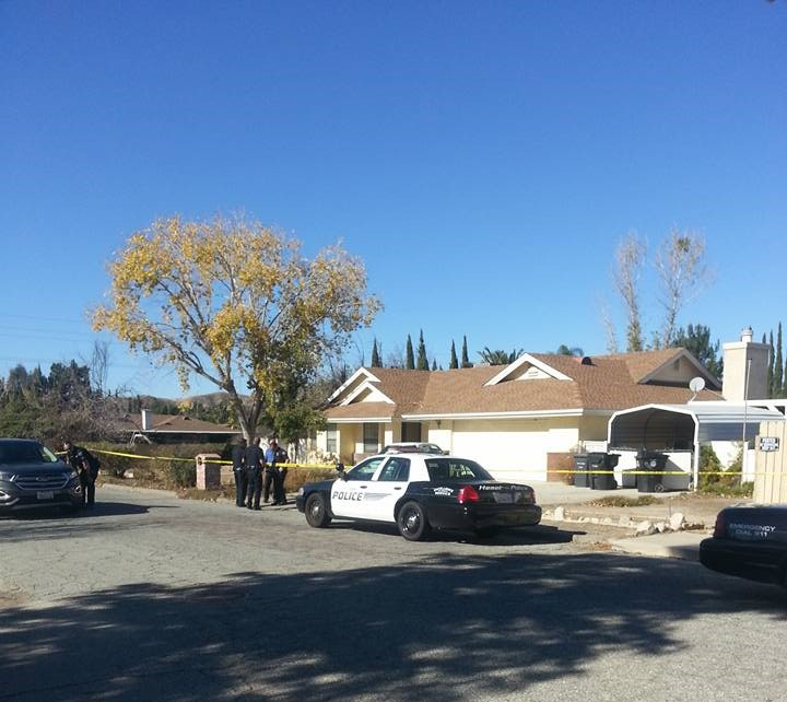 Hemet PD officers on-scene of a homicide that occurred yesterday on Bariloche Ln. Photo Credit: Paul Johnson