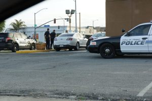 Hemet PD officers investigating the scene of this morning's commercial burglary.