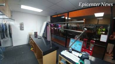 In addition to the barber shop that sustained major damage, Clean and Quick Dry Cleaning sustained moderate damage. William Hayes / Epicenter News photo