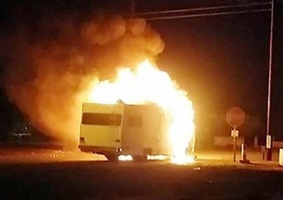 A small RV exploded while it was being driven. None of the occupants from the vehicle were injured. Corey de la Garrigue photos