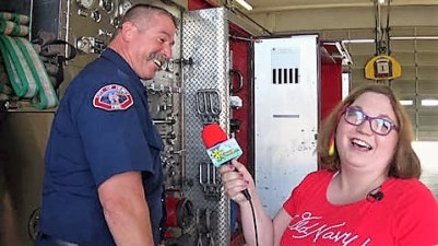 Sara met a lot of interesting new friends, including Fire Engineer Patterson.