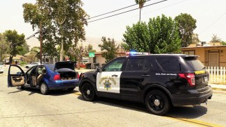 The high-speed pursuit came to an end Santa Fe Avenue, between 3rd and Main Streets. Miguel Shannon photo
