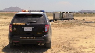 Deputies from the Perris Sheriff's Station arrived with minutes of the dispatched call. Vehicle debris and personal items could be seen strewn across the dirt field. Miguel Shannon photo