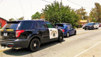 CHP officers pursued the driver and passenger after they fled from the vehicle at the end of the dangerous pursuit. William Hayes photo