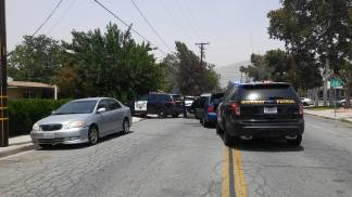Riverside sheriff's deputies and Hemet Police officers assisted at the conclusion of the vehicle pursuit. William Hayes photo