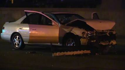 The hit and run suspect's vehicle sustained major damage in the multiple collisions. William Hayes photo