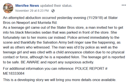 Menifee News FB release