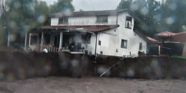 Elsinore homes in danger of being swept away as rain & flooding continues