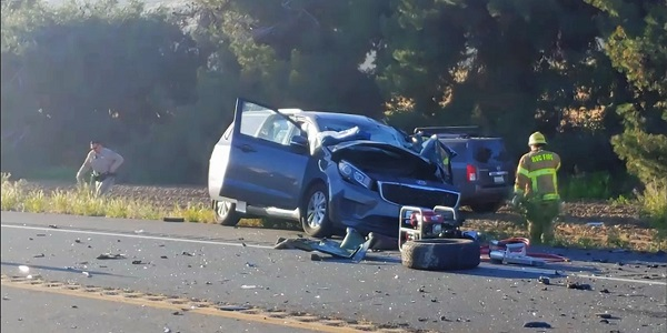Three seriously injured after Nuevo head-on wreck