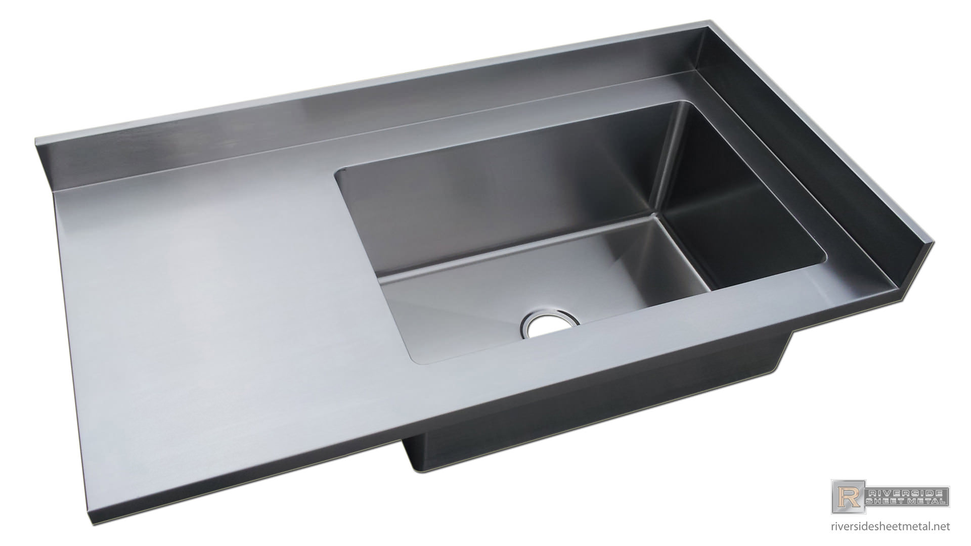 Stainless Steel #4 Finish Counter Top With Sink & Backsplash