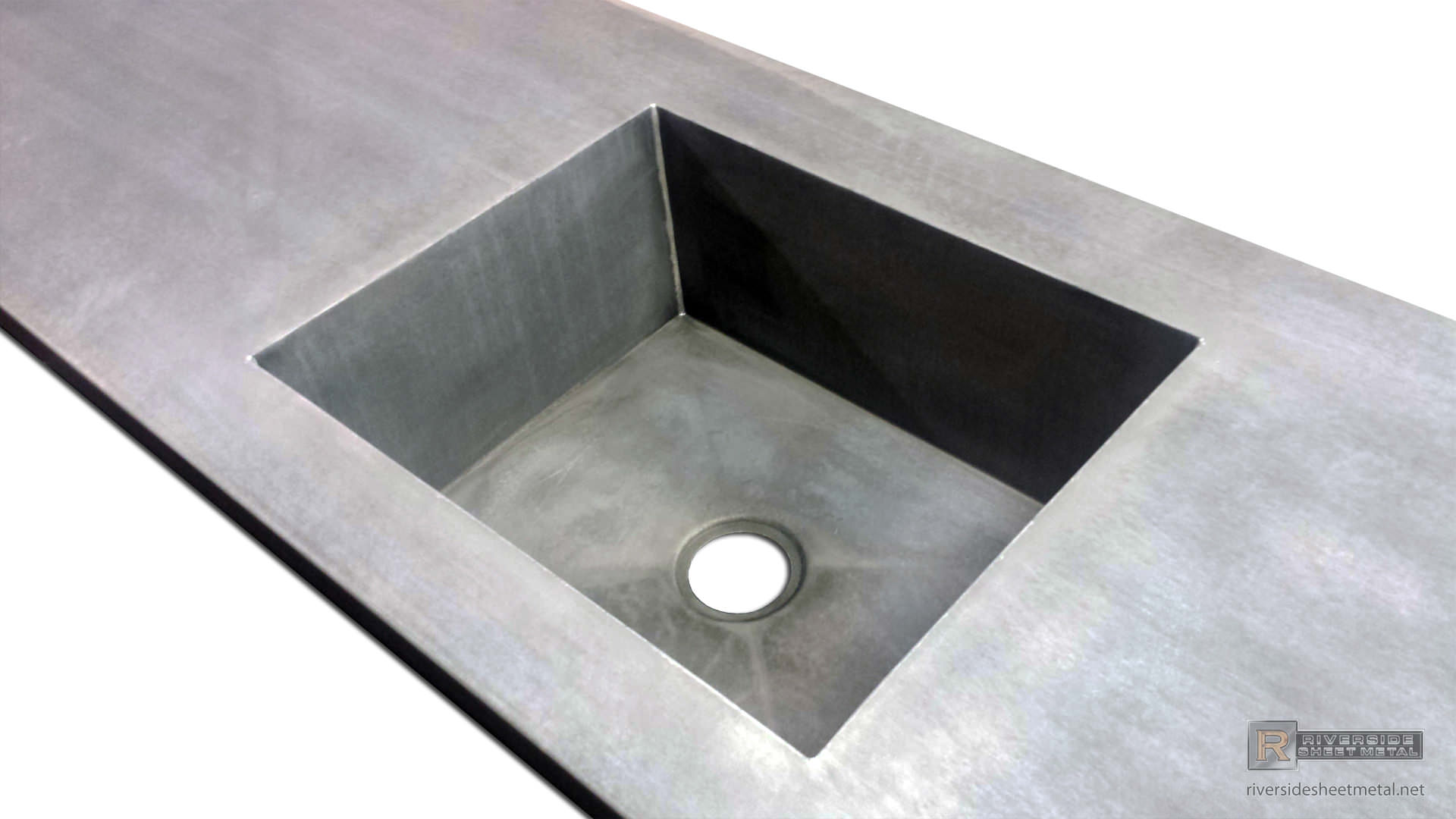 Zinc Counter Top With Integrated Sink & Dark Patina Matte