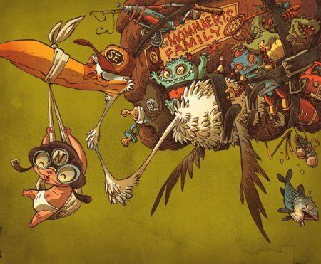 stork-carrying-baby-funny-cartoon-illustration-digital-comic-painting-art-design-humor-flying-animal-monster-creature